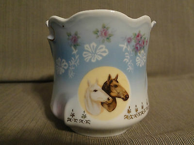 Antique Victorian Style Shaving Mustache Cup Horse & Rose Bavaria Germany