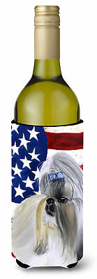Shih Tzu Patriotic Wine Bottle Beverge Insulator Hugger