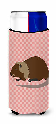 Coypu Nutria River Rat Pink Check Michelob Ultra Hugger for slim cans
