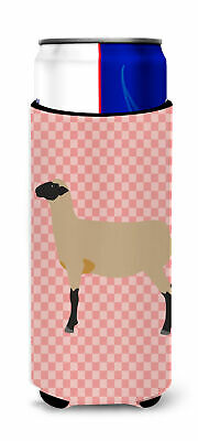 Hampshire Down Sheep Pink Check Michelob Ultra Hugger for slim cans
