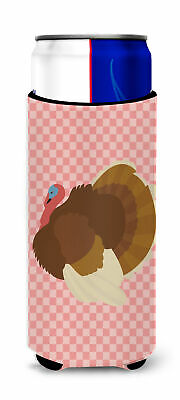 French Turkey Dindon Pink Check Michelob Ultra Hugger for slim cans