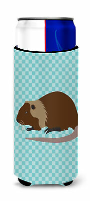 Coypu Nutria River Rat Blue Check Michelob Ultra Hugger for slim cans