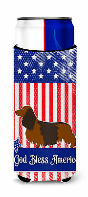 Longhaired Dachshund American Michelob Ultra Hugger for slim cans