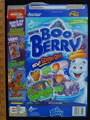 [ 1999 BOO BERRY Monster CEREAL Box - SCOOBY DOO Marshmallows - BOO BERRY BOX ]