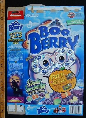 [ 2000 General Mills BOO BERRY Cereal Box - Halloween Fun ]