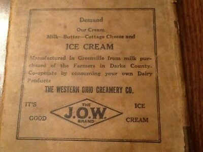 The Western Ohio Creamery Co. Paper Book Cover Advertising GREENVILLE~J.O.W Bran