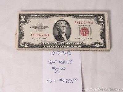 (25) 1953-B $2.00 Notes Bills Currency *RED SEAL* Face Value=$50.00 | 12179