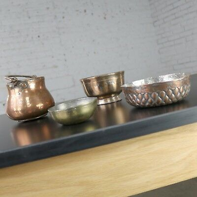 Antique Turkish Set of Four Copper and Brass Bowls and Pot Hand Forged Incised