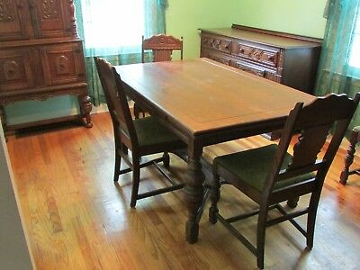 Antique Dining Room Table/Chairs: Item 1 of Set, Bear Furniture, Akron,OH c1920s