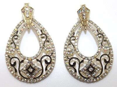 Vintage Art Deco Style AB Crystal Enamel Ornate Tear Drop Statement Earrings