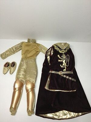 Mattel Ken Camelot's King Arthur Tunic With Cape Bodysuit Slippers Fashion Doll