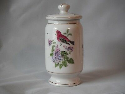 "Porcelain Jar With Lid Birds Purple Lilacs Pussywillows  6"" H"