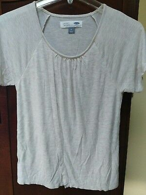 Old Navy Maternity Beige Heather stretchy jersey Nursing Top Medium