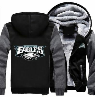 2018 Hot Philadelphia Eagles Hoodie Zip up Jacket Coat Winter Warm Black&Gray