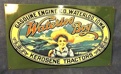 WATERLOO BOY PORCELAIN SIGN - ENGINE COMPANY - PORCELAIN ENAMEL over STEEL