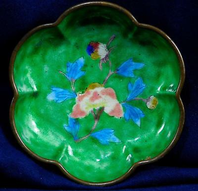 Vintage Chinese Green Enamel on Copper Melon Shape Shallow Bowl