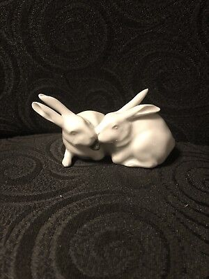 Vintage Royal Copenhagen Rabbits # 518 Eating Cabbage Leaf