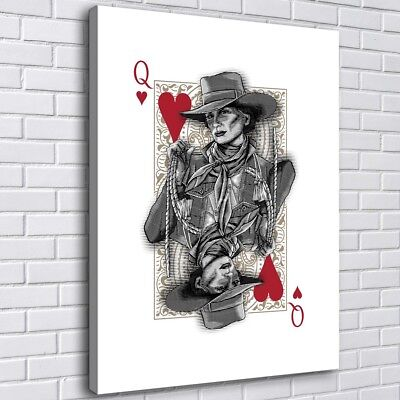 "Poker Heart Q 16""x20"" Home Decor Room HD Canvas Print Picture Wall Art Painting"