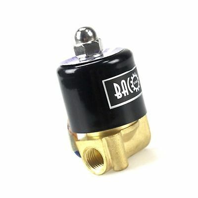 "BACOENG 1/4"" DC12V Electric Solenoid Valve (NPT, Brass, Normally Closed)"