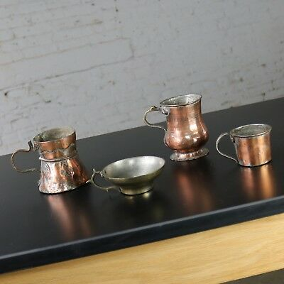 Antique Turkish Set of Four Copper Brass Handled Cup Mugs Hand Forged Incised