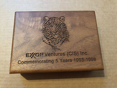 "EXXON VENTURES (CIS) INC. ""Commemorating 5 Years 1993-1998"" Laser Cut Wooden Box"