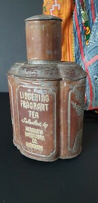 Old Chinese 'Lingering Fragrant Tea' Hong Kong Metal Container …beautiful collec