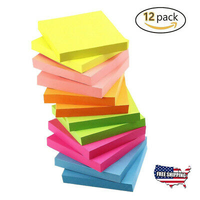 Post-It Sticky Notes Memo Reminder Neon Colors 12 Pads 100 Sheets Office School