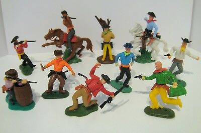Timpo Copies Hong Kong Wild West Cowboys Indian & Horses Plastic Toy Figure Lot