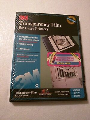 """3M Transparency Film For Laser Printers  8.5""""x11"""" 50 Sheets CG3300  SEALED"""