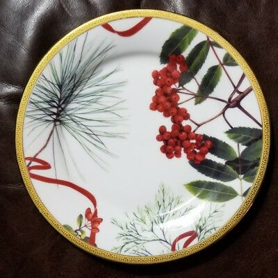 "Charter Club HOLLY BERRY Grand Buffet Red/Gold  9'3/8"" SALAD PLATE EXCELLENT"