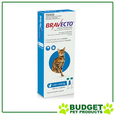Bravecto Spot On For Cats Blue 2.8-6.25kg 2 Doses