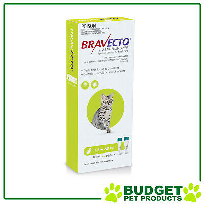 Bravecto Spot On For Cats Green 1.2-2.8kg 2 Pack