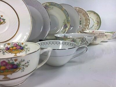 6 Vtg Mismatched Floral Teacup & Saucer Sets: Noritake, Sebring, Sone China