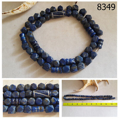 Ancient Lapis Lazuli w/Pyrite Carved Egyptian Faceted Beads Strand #8349