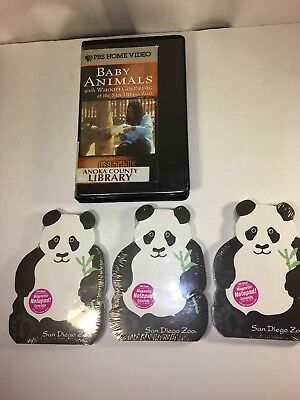 rare San Diego Zoo baby animals VHS with Whoopi Goldberg & 3 Panda notepads lot