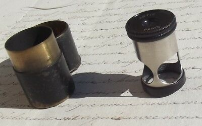 Antique French Magnifying Microscope glass travel loupe in brass case Paris