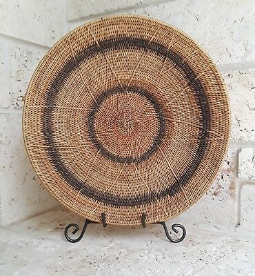 "Vintage Hand Made Large 18"" African Makenge Basket from Zambia - BEAUTIFUL!"