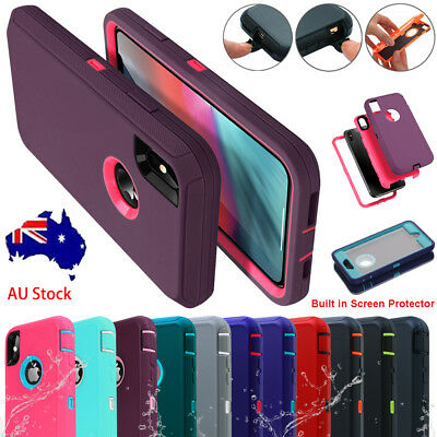 F iPhone XS Max XR X 8 7 Plus Hybrid Shockproof Dirt Proof Heavy Duty Case Cover