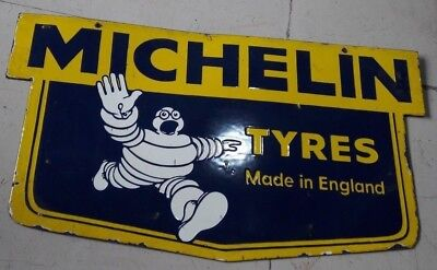 "Porcelain MICHELIN TYRES Sign SIZE 17"" X 30"" INCHES DOUBLE SIDED"