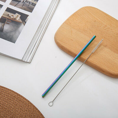 Portable Straight Bend Titanium Alloy Drinking Stir Straw with Cleaning Brush