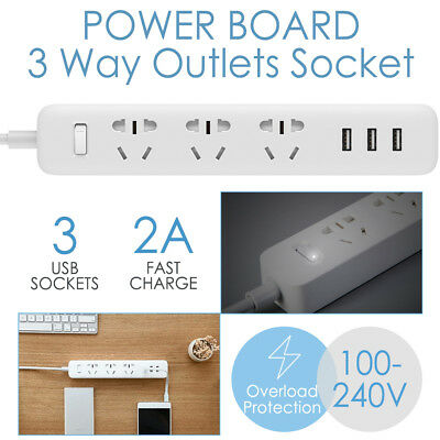 Power Board 3 Way Outlets Socket 3 Usb Charging Charger Ports Overload Protected