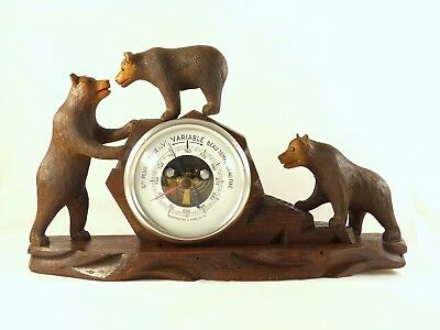 """Antique French Black Forest Carved Barometer Rare 3 Bears figures 12"""" x 7"""" 1900"""