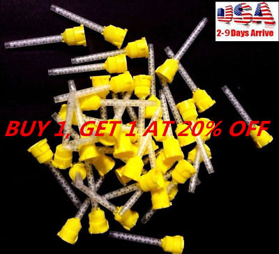 100pcs Disposable Dental Silicone Rubber Impression Yellow 4.2mm Mixing Tip 1:1