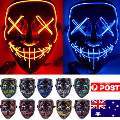 Halloween Scary Mask Cosplay Led Costume Mask EL Wire Light Up The Purge 3 Modes