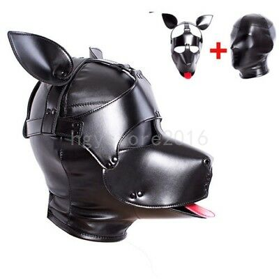 2 in 1 PU Leather Bondage Dog Hood Head Harness Mask Headgear Slave Cosplay New