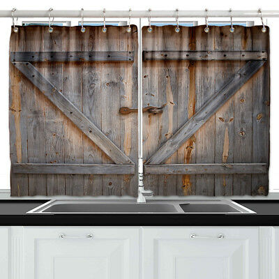 Wooden barn door Kitchen Curtains 2 Panel Set Decor Window Drapes 55 x 39""