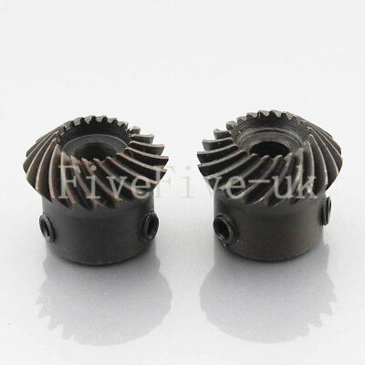 2pcs 1M20T Metal Umbrella Spiral Bevel Gear Helical Motor Gear 20 Tooth