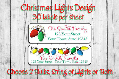 Personalized CHRISTMAS LIGHTS Return Address LABELS, 30 per Sheet Christmas Bulb
