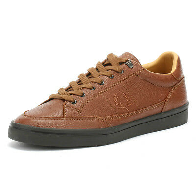 hot sales great quality 100% authentic FRED PERRY MENS Trainers Tan Brown Deuce Leather Lace Up Sport ...