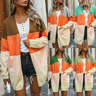 Women's Long Cardigan Sweater Patchwork Open Front Long Sleeve Loose Winter Coat